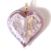 Glass Lamp Pendant Heart 13mm Light Amethyst/Silver